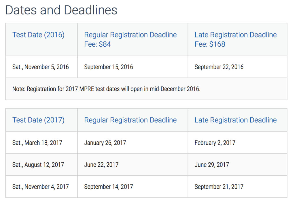 MPRE Dates and Deadlines