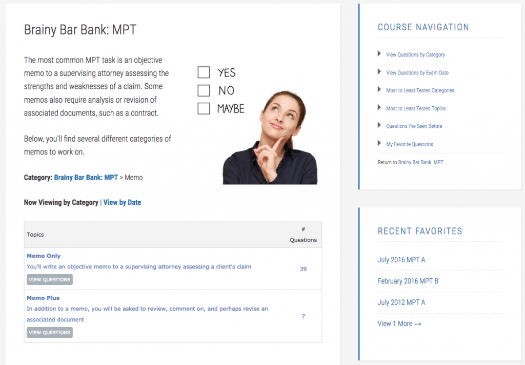 Brainy Bar Bank - MPT Memos page